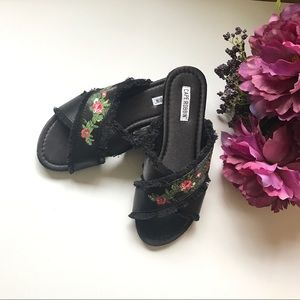 Cape Robbin Floral Embroidered Slipper Sandal